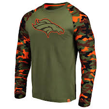 Broncos Denver Sleeve T-shirt Long Olive Raglan By Nfl Pro camo Fanatics Recon Line Branded Men's