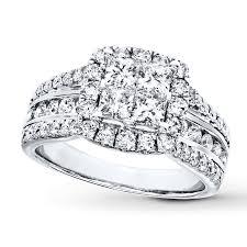 kay diamond engagement ring 2 ct tw princess round 14k white gold