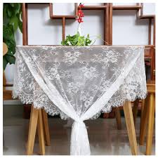 Rectangle Tables Wedding Reception White Lace Tablecloth 60x120inches Rustic Wedding Reception Table Decor Boho Party Supplies Vintage Lace Tablecloths For Rectangle Tables