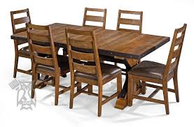 spruce wood taos extension table in canyon brown finish
