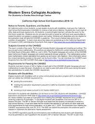 Cahsee Score Chart Western Sierra Collegiate Academy 15 California High School