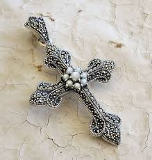 large marcasite and mother of pearl cross pendant