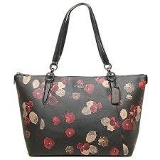 Authentic Coach Ava Tote in Halftone Black Floral Print Coated Canvas -  F55541