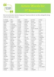Action Words Chart With Pictures Nimtalkingtalent It Resume Action Words