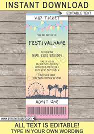 Party Ticket Invitations Impressive Coachella Themed Party Ticket Invitation Template Festival Invite