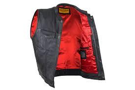men s cowhide leather vest red