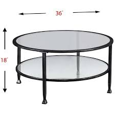 southern enterprises jaymes round glass top coffee table in black