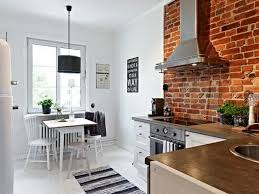White Exposed Brick Wall Kitchen Rustic Style Kitchen With White Scheme And Brick Wall