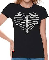 Awkward Styles Womens Heart Ribcage T Shirt Day Of Dead Happy Halloween Shirt