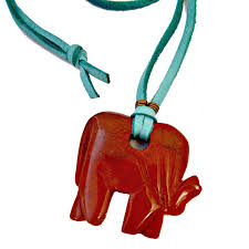 long pendant necklace chunky red jasper elephant pendant on turquoise suede cord images