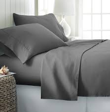 com splendid 600 thread count egyptian cotton 4 piece queen bed sheet set with sateen deep pocket solid grey home kitchen