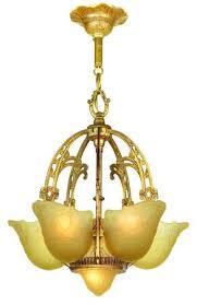 art deco top of the line slip shade chandelier