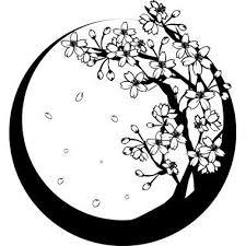 白黒の桜の木和風春の無料イラスト вырезание цветочки 桜