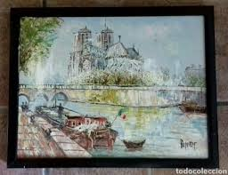 5 fotos original oil painting on canvas signed by ine burnett paris seine notredame 1950 s