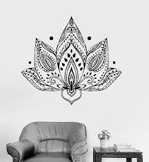vinyl wall decal lotus flower patterns yoga buddhism bedroom stickers unique gift ig3423