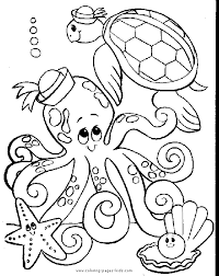 Small Picture Octopus and a turtle color page