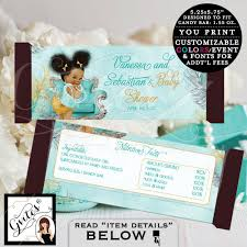 candy bar wrappers turquoise blue gold and silver afro puffs vine baby coed baby shower blue themed digital file 2 per sheet