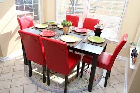 Red Dining Room Chairs Amazoncom 7 Pc Red Leather 6 Person Table And Chairs Red Dining
