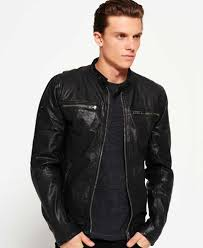 superdry real hero biker jacket black m59708 mens leather jackets superdry jackets india