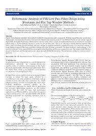 Matlab Code For Fir Filter Design Using Rectangular Window Pdf Performance Analysis Of Fir Low Pass Filter Design