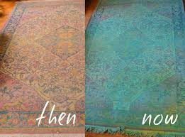 diy overdyed rug with spray bottle