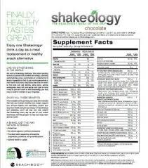 Shakeology Ingredient Chart Shakeology Nutrition Facts Chocolate Nutrition Facts