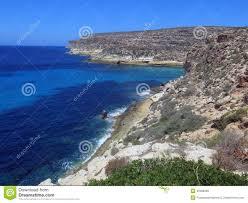 Landschap Van Het Eiland Lampedusa In Italië Stock Afbeelding
