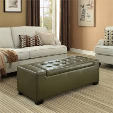 faux leather storage bench in deep olive green