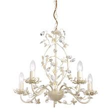 60w cream with brushed gold effect paint 5 light pendant