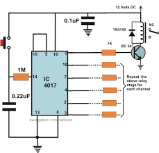 how to make an led light chaser manually operated sequential relay circuit