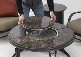 patio ideas propane fire pit coffee table with ceramic round and glass rock
