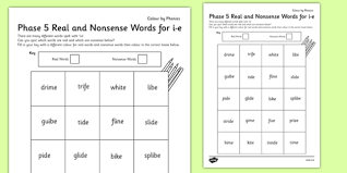 Her first nurse works early. Phase 5 I E Split Digraph Color By Phoneme Real And Nonsense Words