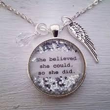 inspirational e necklace she believed she could so she did personalized necklace inspirational