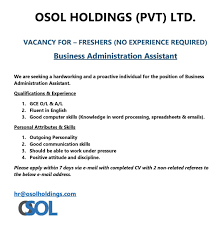 business administartion assistant freshers osol latest jobs in best job site in sri lanka cv lk