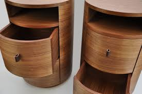 a pair of bedside tables for this commission the interior designer was clear on the circular simplicity of these tables they had to hold a lamp