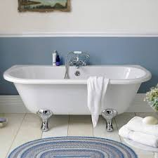 premier 1700 double ended back to wall free standing bath with chrome leg set at victorian plumbing uk