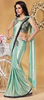 Designer Stitched Saree Lycra Wedding Readymade Saree In Blue With Cut Dana Work