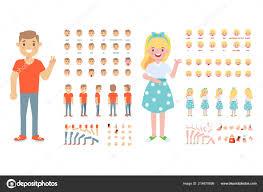 フロント サイド 文字をアニメーション化 男と女の作成はビューやヘア
