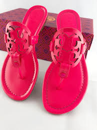 tory burch tory burch miller sandals flip flop patent leather neon pink 7 5 com