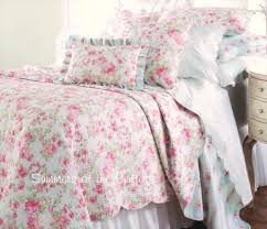 pink and green shabby chic bedding design ideas