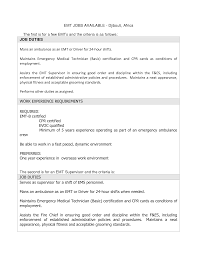 Emt Basic Resume Examples Sweetlooking Emt B Resume Ravishing Job Description Emergency 11