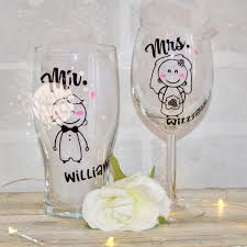fullsize of smothery glasses wine glasses wine glass ideas personalised mr mrs pair