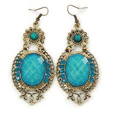 victorian style light blue acrylic bead crystal chandelier earrings in antique gold tone 80mm