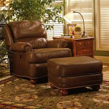 Living Room Chair And Ottoman Set Upholstered Tilt Back Reclining Chair Ottoman By Smith Brothers