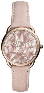 details about fossil es4419 tailor women s og rose gold tone watch pink leather strap