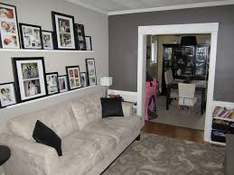 top on grey feature wall living room home decor arrangement ideas
