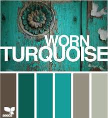 The worn turquoise color pallet. my living room color pallet