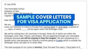 sle cover letters for visa