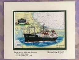 Coast Guard Chart Art Mass Maritime Academy Nautical Chart Art Print Usts Kennedy