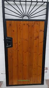 sunrise wood infill steel frame side gate with lock